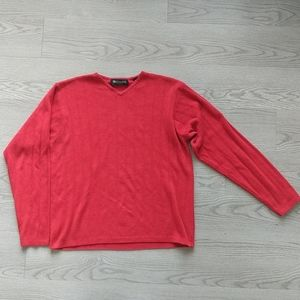 Men's Knit Red V-Neck Sweater (M)